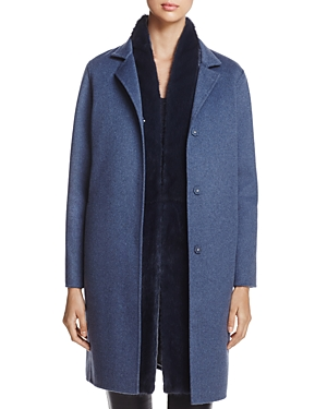 Maximilian Furs Wool & Cashmere Coat with Detachable Mink Fur Vest