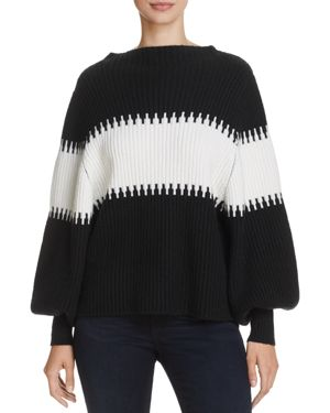 French Connection Sofia Striped Puff-Sleeve Sweater 2720264