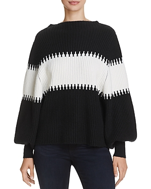 French Connection Sofia Striped Puff-Sleeve Sweater