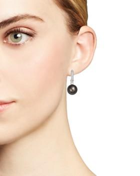 Tara Pearls - 18K White Gold Diamond & Black Tahitian Cultured Pearl Huggie Earrings