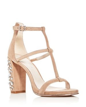 Kenneth Cole Women's Deandra Suede T-Strap High Block Heel Sandals 2722126