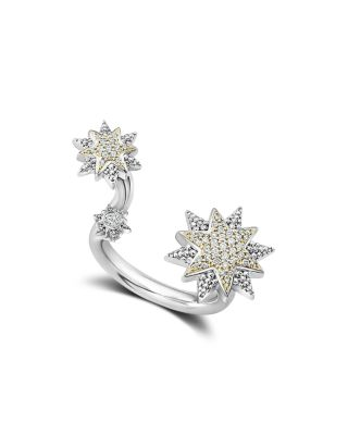 18K Gold & Sterling Silver North Star Diamond Ring, White/Silver