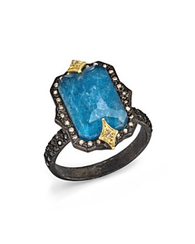 Armenta - 18K Yellow Gold & Blackened Sterling Silver Old World Midnight Cravelli Blue Quartz Triplet, White Diamond & Champagne Diamond Ring