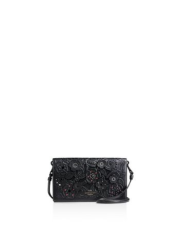 COACH - Foldover Crossbody Clutch in Glovetanned Leather and Tea Rose Tooling