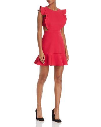 BCBGMAXAZRIA - Ruffle Trim Cutout Dress