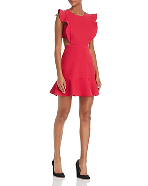 Bcbgmazria Ruffle Trim Cutout Dress