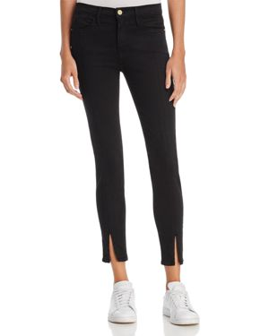 Frame Le High Skinny Split-Hem Jeans in Film Noir
