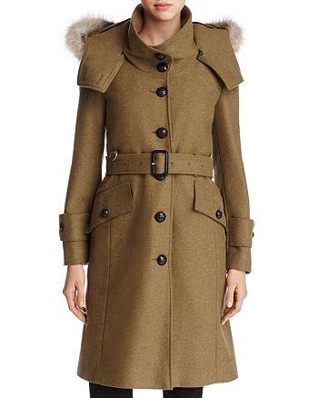 Burberry - Claybrooke Fur Trimmed Trench Coat