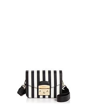 Furla Metropolis Stripe Mini Leather Crossbody