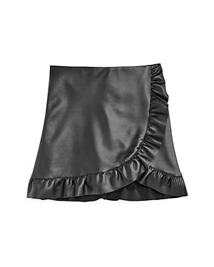 Aqua Girls FauxLeather RuffleTrim Skirt Big Kid  100 Exclusive