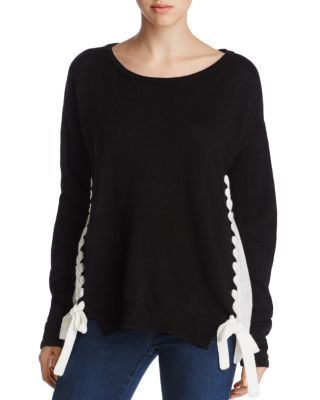 ALISON ANDREWS Color Block Lace-Up Sweater in Black/White