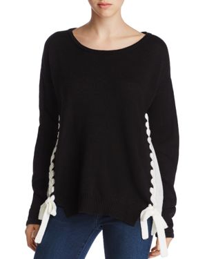 Alison Andrews Color Block Lace-Up Sweater