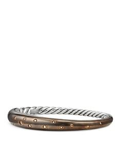 David Yurman - Pure Form Mixed Metal Smooth Bracelet with Cognac Diamonds, Bronze & Sterling Silver