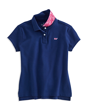 Vineyard Vines Girls Polo Shirt with Contrast Print Under Collar  Little Kid