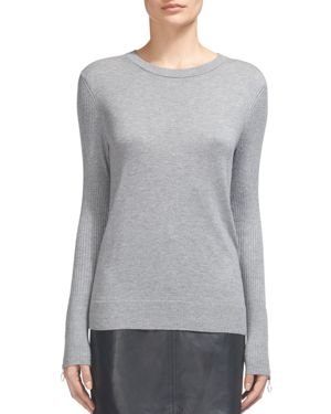 Whistles Zip-Cuff Ribbed-Detail Sweater