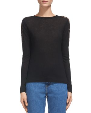 Whistles Lace-Detail Sleeve Top