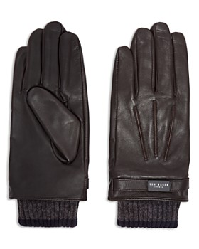 Ted Baker - Ribbed Knit Cuff Leather Gloves