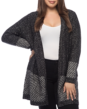 New B Collection by Bobeau Curvy Auggie Duster Cardigan, Charcoal