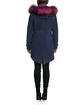 BAGATELLE.CITY - Fur Trim Hooded Suede Parka