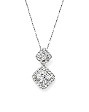 Bloomingdale's Diamond Cluster Drop Pendant Necklace in 14K White Gold, .50 ct. t.w. - 100% Exclusive