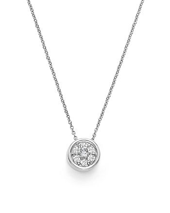 Bloomingdale's - Diamond Bezel Set Cluster Small Pendant Necklace in 14K White Gold, .10 ct. t.w. - 100% Exclusive