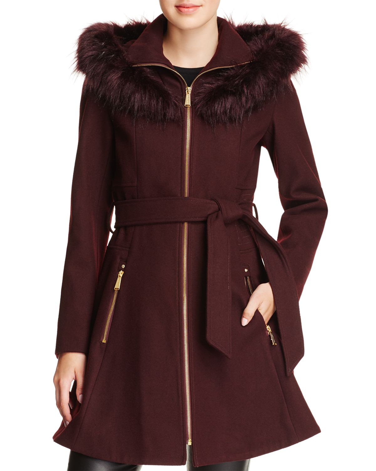 Faux Fur Trim Belted Fit & Flare Coat by Laundry By Shelli Segal