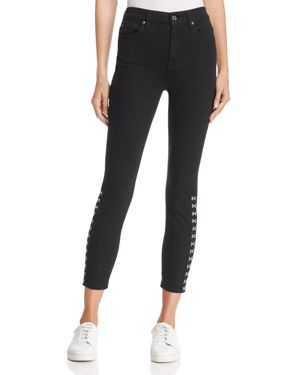 7 For All Mankind High-Rise Skinny Hook-and-Eye Jeans in B(air) Black 2728796