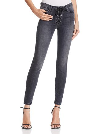 Black Orchid - Heidi Skinny Lace-Up Jeans in Easy Rider