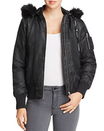 Calvin Klein - Olena Hooded Faux Fur-Trimmed Bomber Jacket