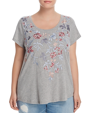 Lucky Brand Plus Floral Embroidered Tee