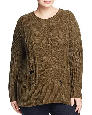 Lucky Brand Plus Portland Distressed Sweater