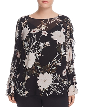Lucky Brand Plus Floral Print Ruffle Sleeve Blouse