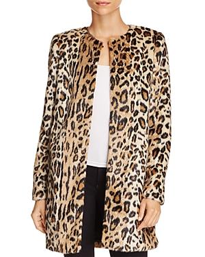 T Tahari Jenna Faux Leopard Coat
