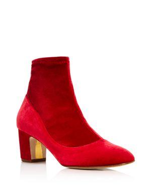 Rupert Sanderson Women's Fernie Stretch Velvet Block Heel Booties - 100% Exclusive