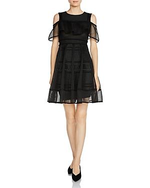 Maje Rosalie Cold-Shoulder Mesh Overlay Dress