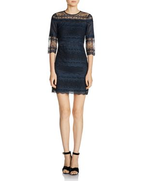 Maje Rizzie Pleated Lace Mini Dress