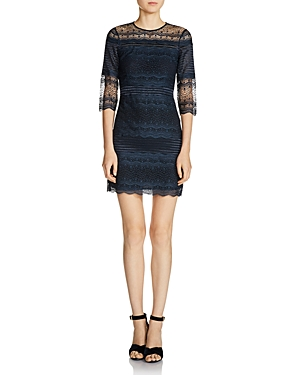 Maje Rizzie Pleated Lace Mini Dress