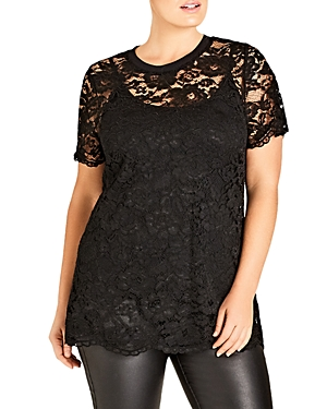 City Chic Scalloped Lace Top
