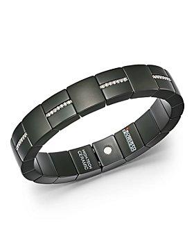 Roberto Demeglio - 18K White Gold & Matte Black Ceramic Domino Square Stretch Bracelet with Diamonds