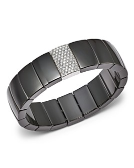 Roberto Demeglio - 18K White Gold & Black Ceramic Domino Rectangular Stretch Bracelet with Diamonds