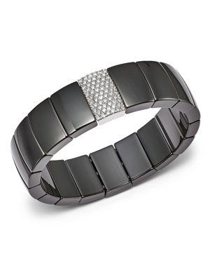 Roberto Demeglio 18K White Gold & Black Ceramic Domino Rectangular Stretch Bracelet with Diamonds