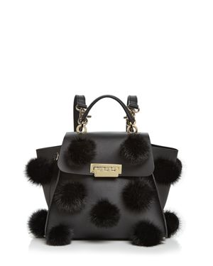 Zac Zac Posen Eartha Iconic Convertible Fur Pom-Pom Leather Backpack
