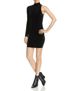 Pam & Gela Mock Neck One-Sleeve Velvet Dress