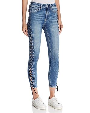 Mavi Tess Lace-Up Skinny Jeans in Dark Eyelet
