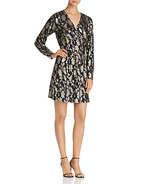 Vero Moda Foil Print Faux Wrap Dress