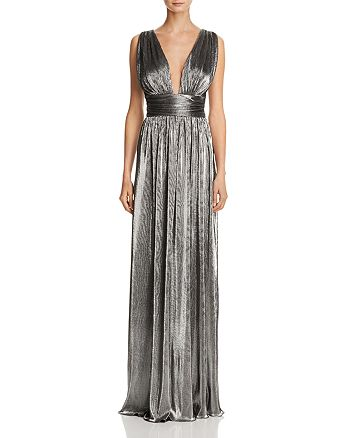 Laundry by Shelli Segal - Deep V-Neck Metallic Gown