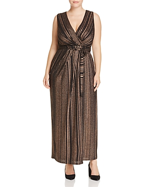 City Chic Metallic Stripe Wrap Maxi Dress - 100% Exclusive