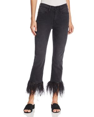 Frame Le High Straight Feather-Cuff Jeans in Ludlow
