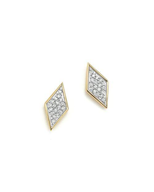 Adina Reyter - 14K Yellow Gold & Pavé Diamond Tiny Stud Earrings