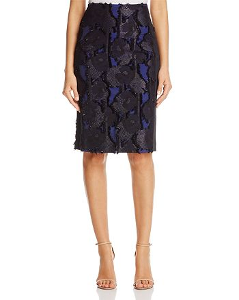 Badgley Mischka - Frayed Floral Pencil Skirt